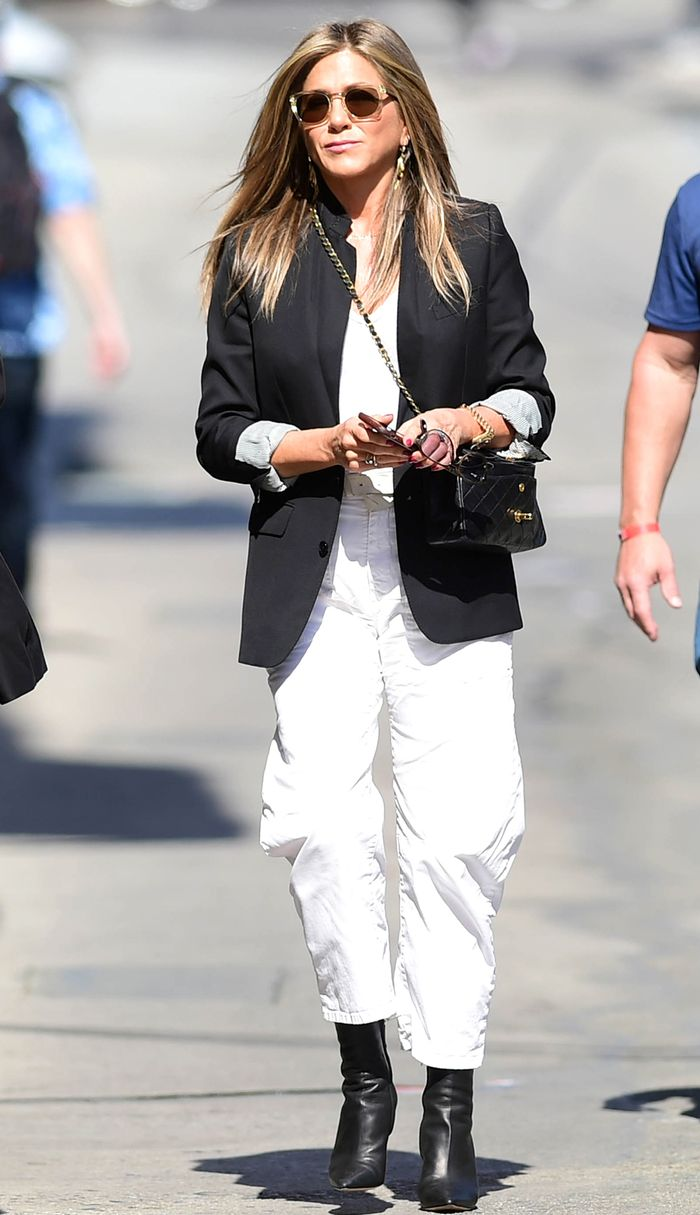 Best Jennifer Aniston outfit in a blazer and ankle boots