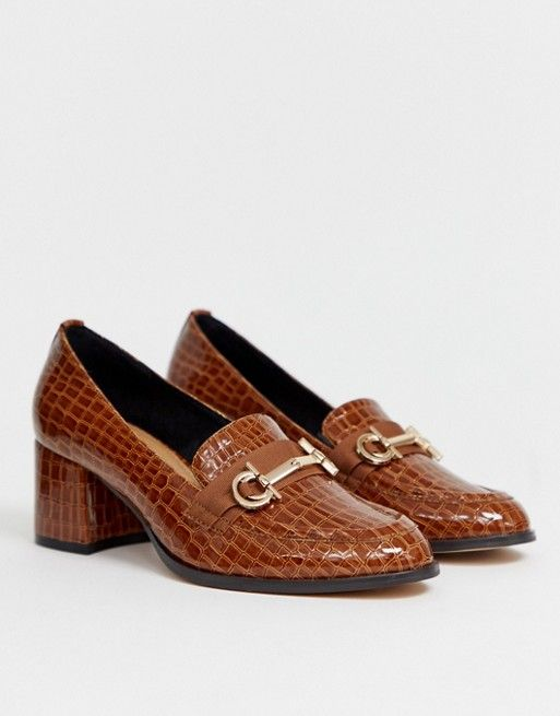 ASOS Stirrup Heeled Loafers in Croc