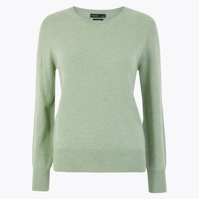 M /& S COLLECTION LUXURY CASHMERE V-NECK IN CAMEL//MINT//PINK// SOFT YELLOW JUMPER