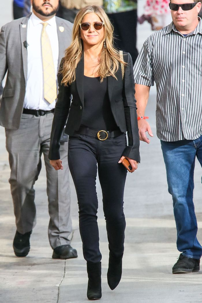 Jennifer Aniston jeans and boots outfit