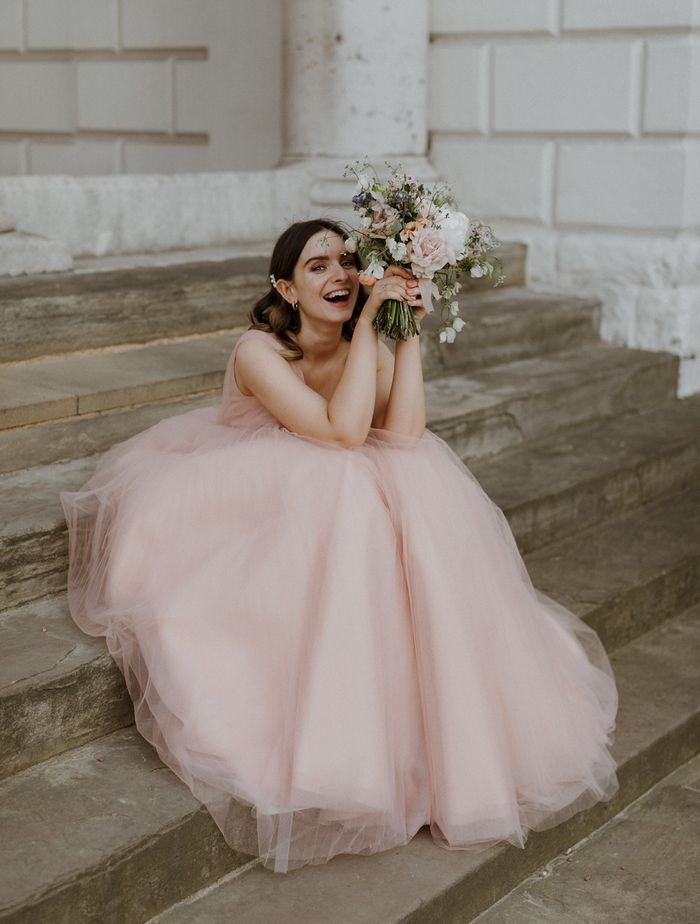 Wedding Dress Trends 2020: @livpurvis wears a pink wedding dress