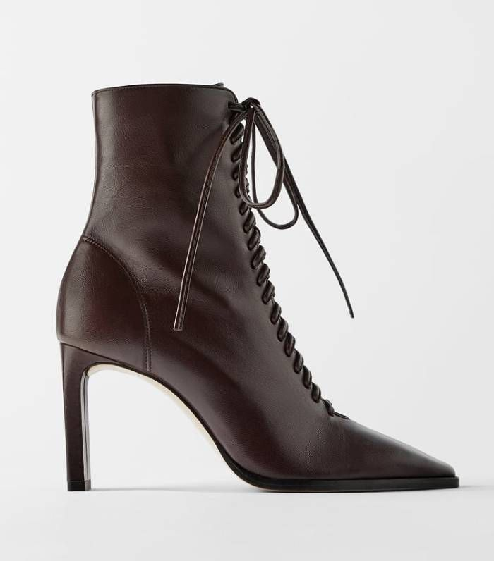 Zara Lace-Up Leather High-Heel Ankle Boots