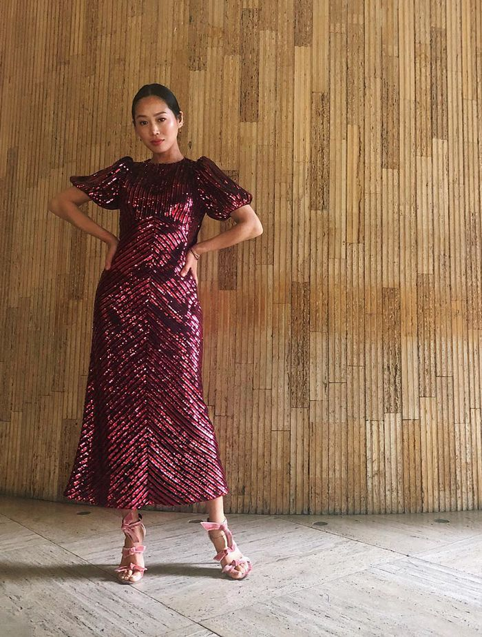 Best Party Dresses 2019: Aimee Song wears a Rixo sequin dress