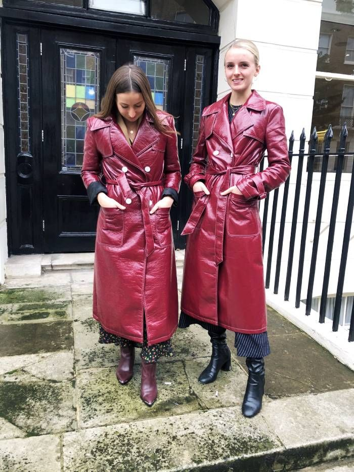 Emily Dawes and Joy Montgomery wear Amazon Find trench coat over dresses and boots.
