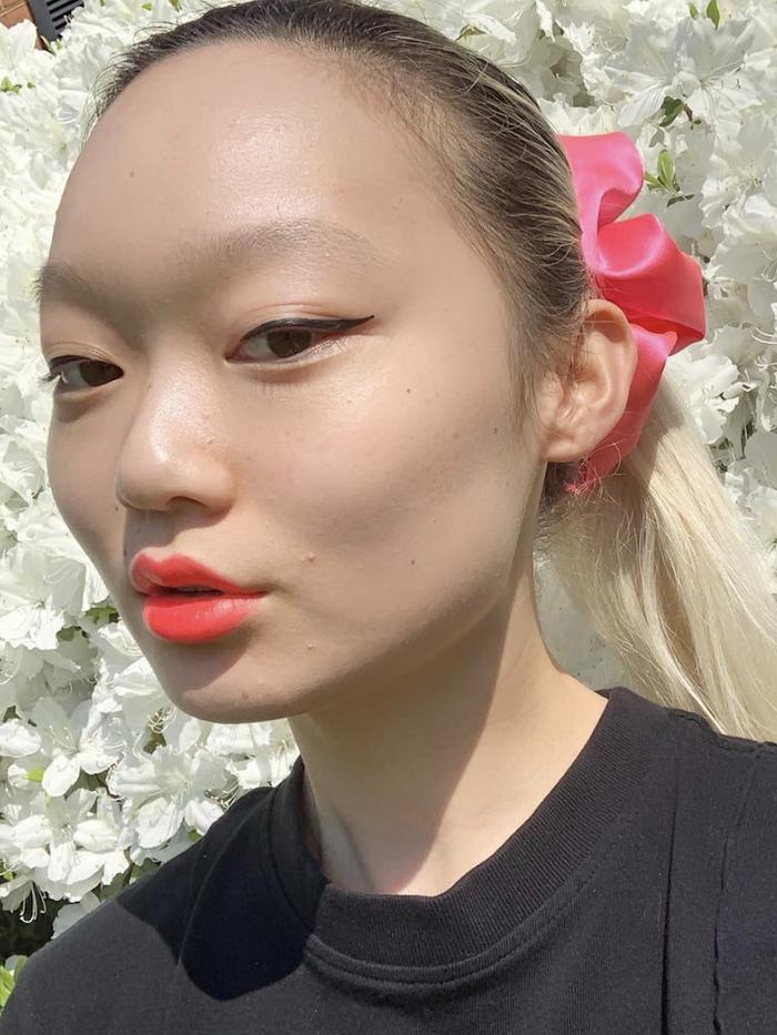 Amazon Skincare Belei: Jessica Wu wearing pink scrunchie