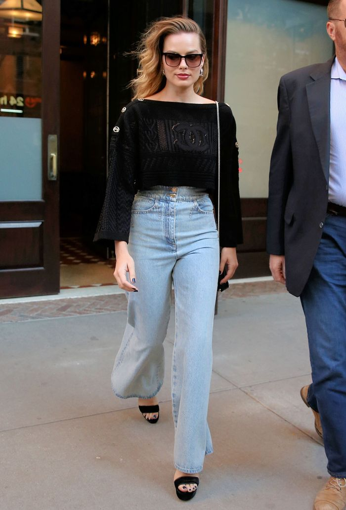 Margot Robbie Fashion with Flare Jeans and Chanel