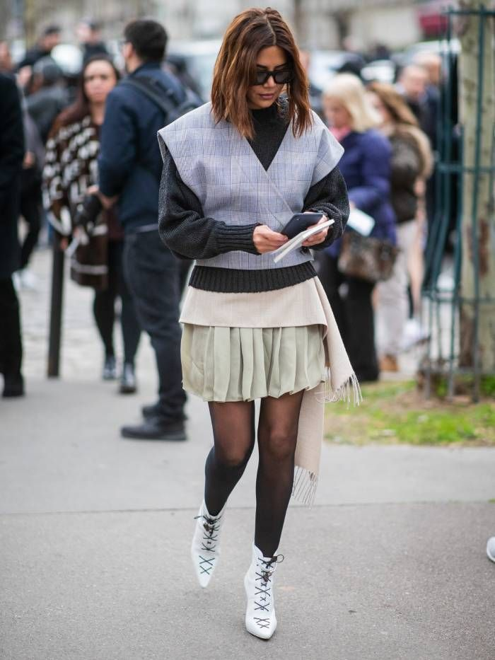 ankle boots with a skirt