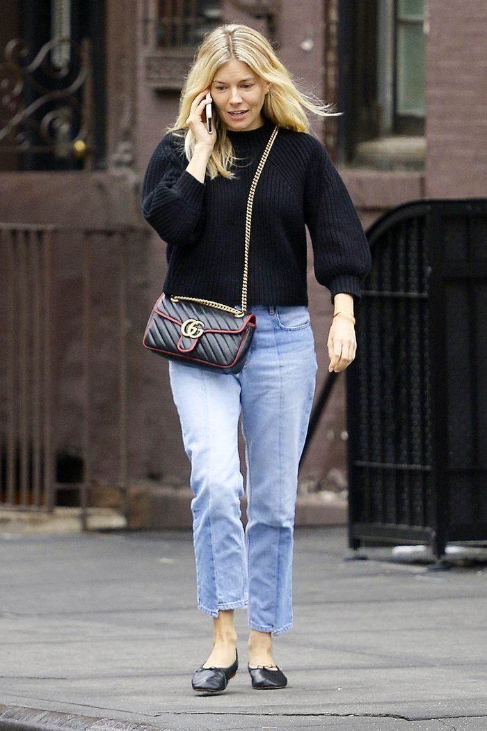 Sienna Miller jeans and flats
