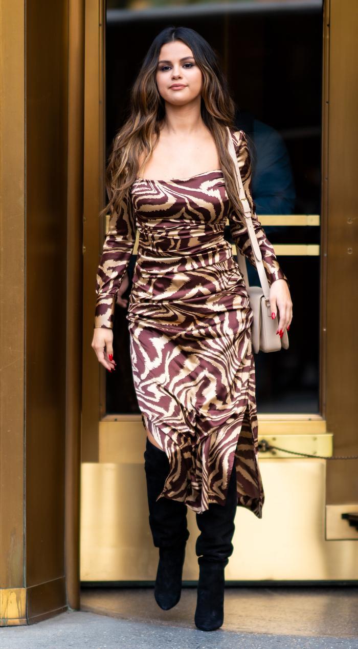 Selena Gomez Ganni dress and boots: