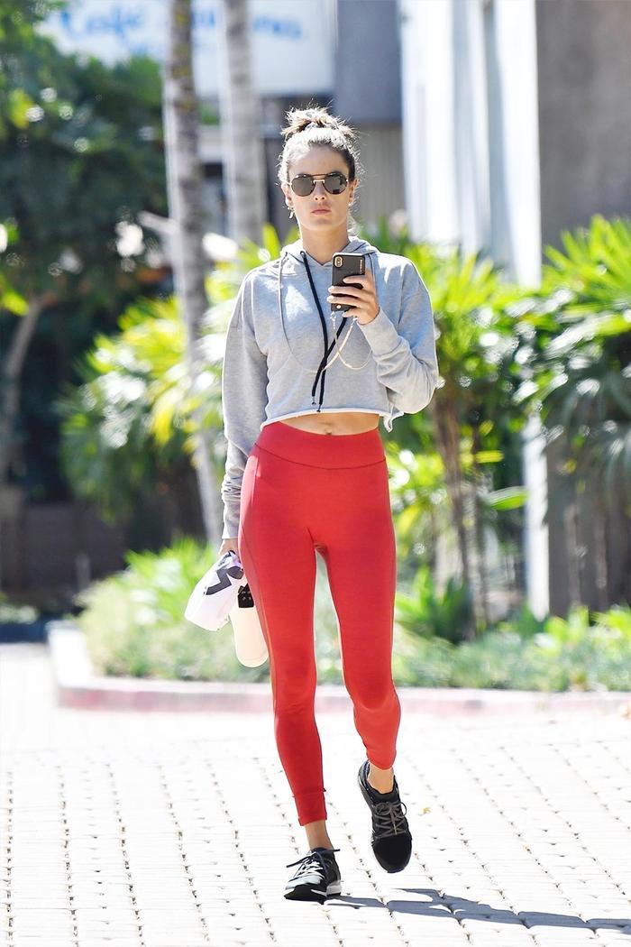 Alessandra Ambrosio Red Leggings