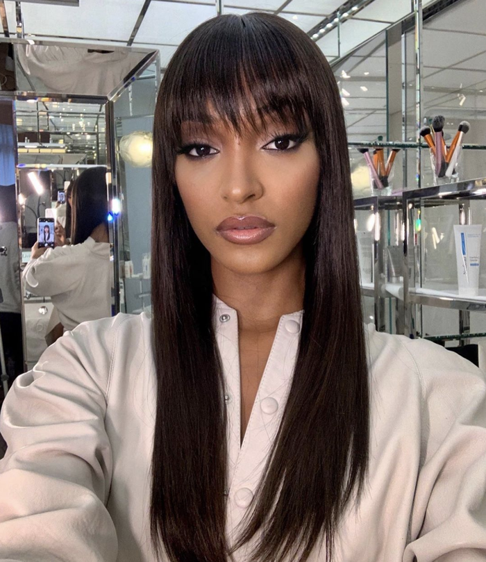 Best Celebrity Hairstyles: Jourdan Dunn with fringe and straight hair