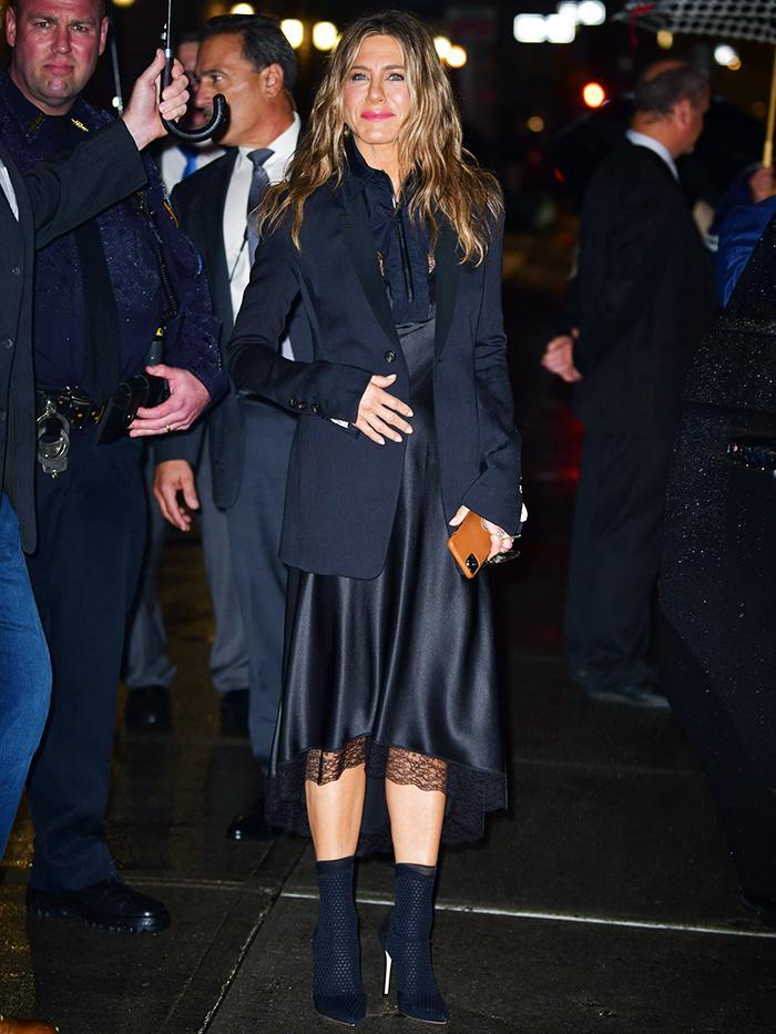 Jennifer Aniston: Black Blazer and Slip Dress