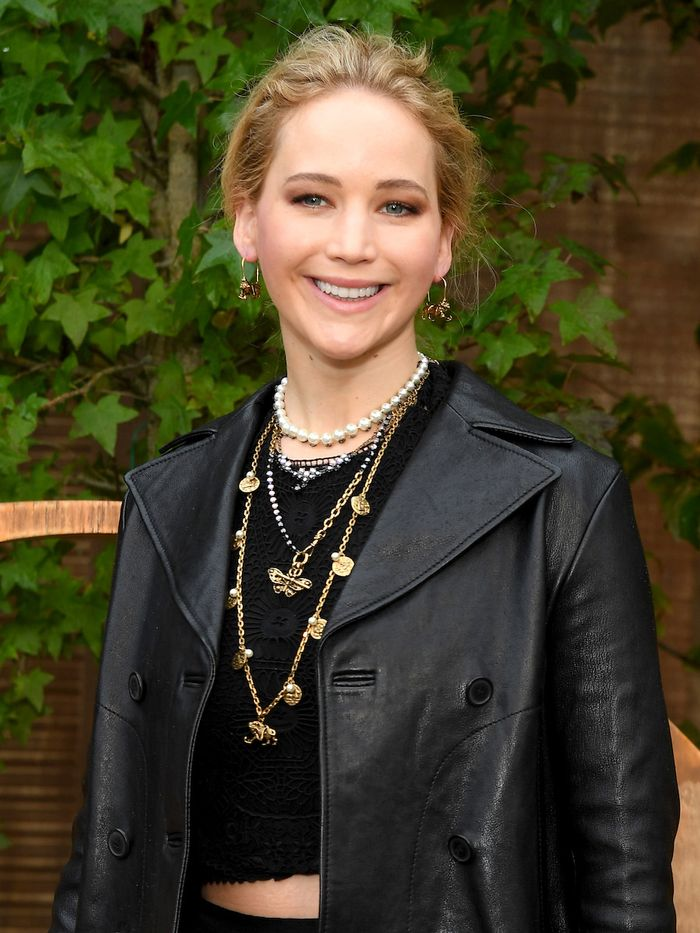 Jennifer Lawrence Skincare: Jennifer at Paris Fashion Week wearing Dior