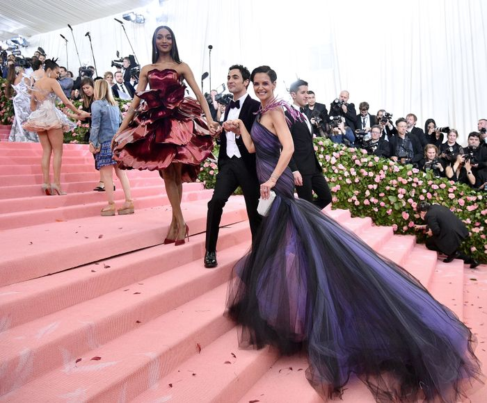 Jourdan Dunn, Zac Posen, and Katie Holmes attend the 2019 Met Gala Celebrating Camp: Notes on Fashion at Metropolitan Museum of Art on May 06, 2019
