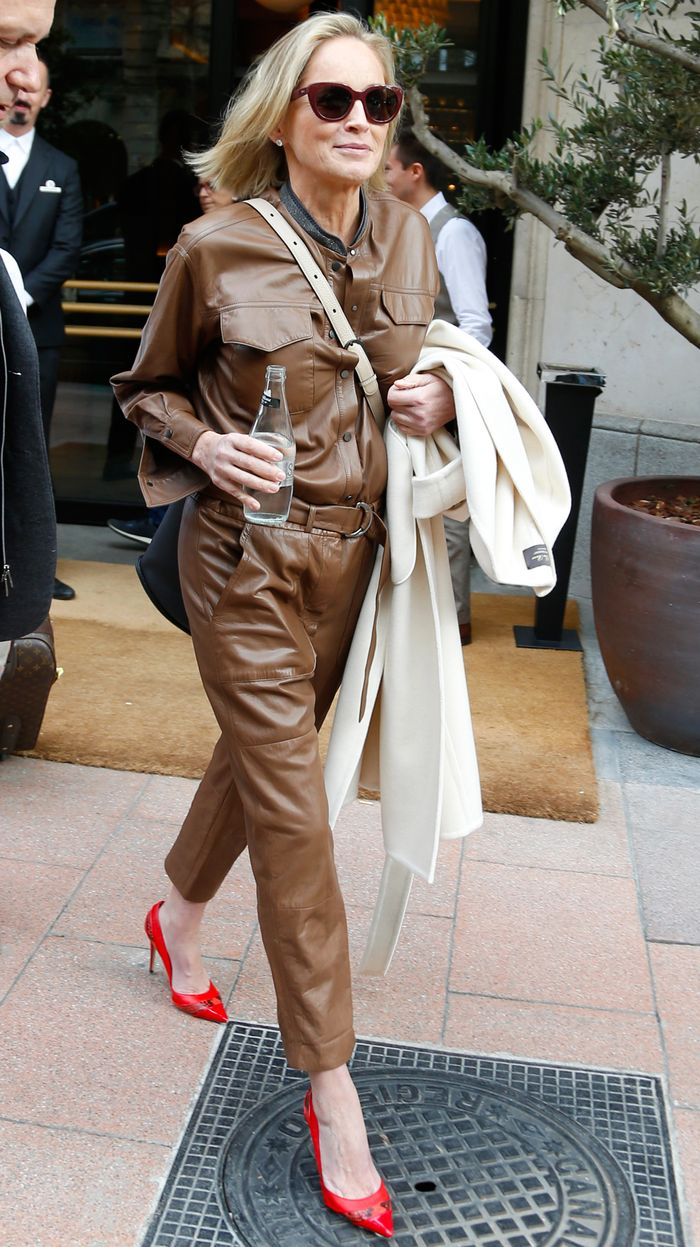 Sharon Stone Wears a Leather Jumspuit