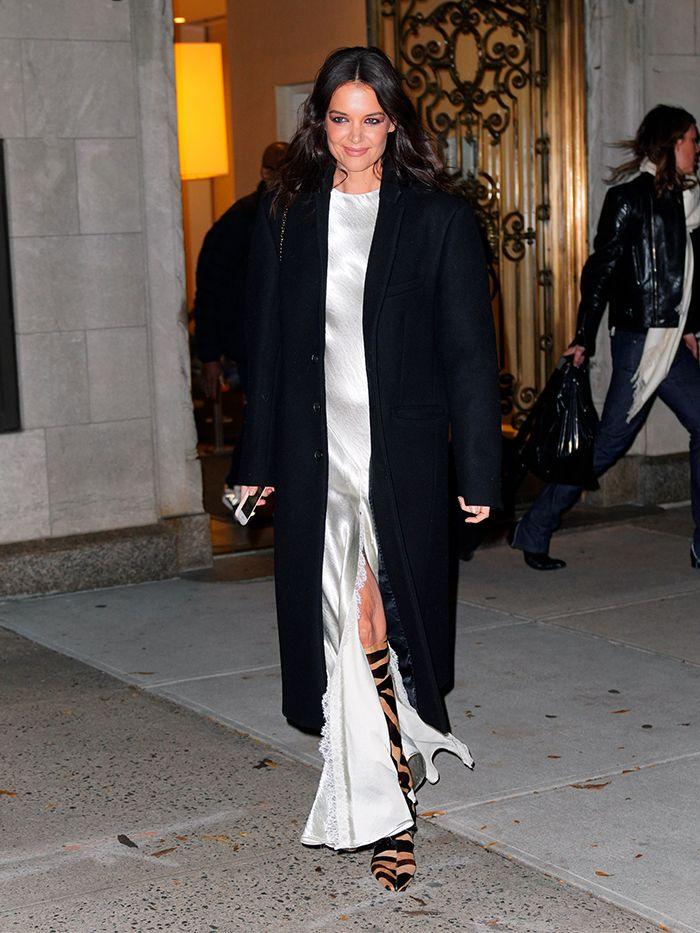 Katie Holmes wearing Khaite: zebra knee-high boots