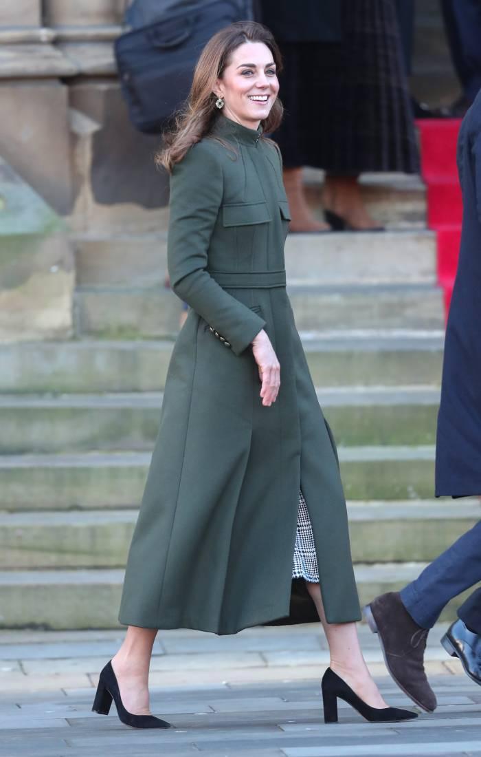 kate middleton zara uk: in an alexander mcqueen coat, black pumps and zara dress