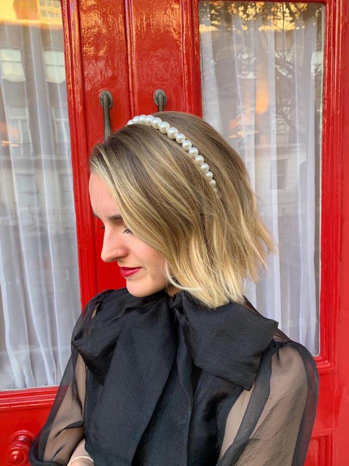 Best party hair accessories: Joy wearing Warehouse pearl headband
