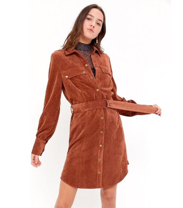 UO Averie Corduroy Belted Shirt Dress