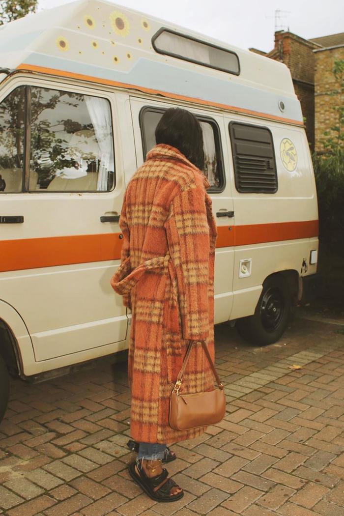 Warehouse checked coat trend: Monikh Dale
