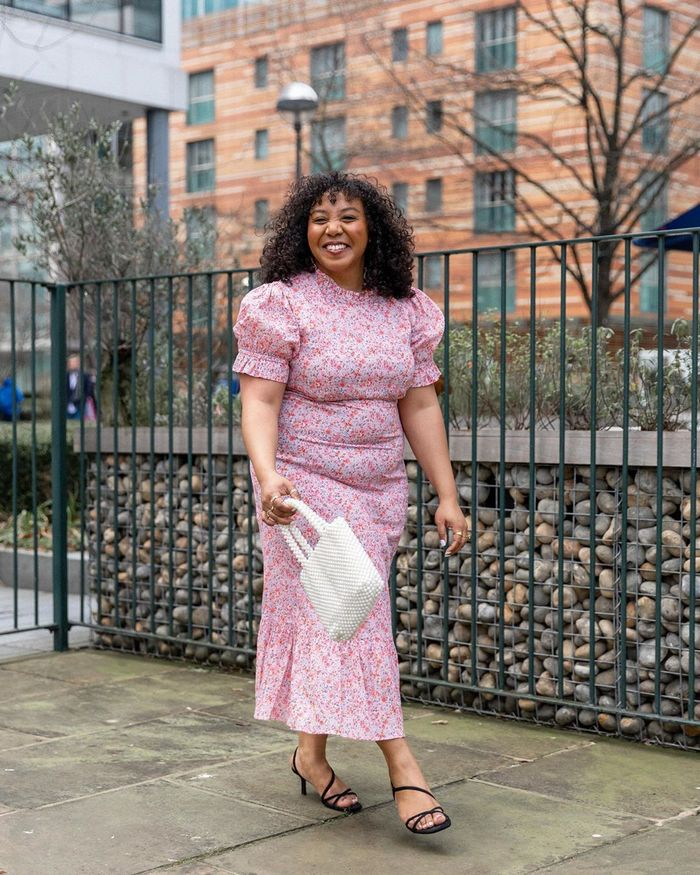 Best Dresses from Rixo, Ganni and Ghost: Nicole Ocran wears a pink floral dress from Ghost.