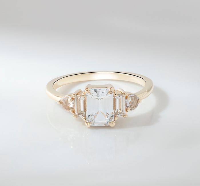 White sapphire ring engagement ring White sapphire and Diamond ring unique ring unique engagement White sapphire engagement ring