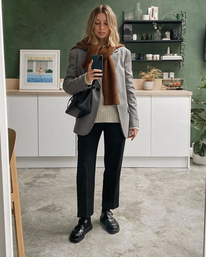 Best Winter Outfit Ideas Pinterest 2020: Tied Jumper and Blazer on Brittany Bathgate