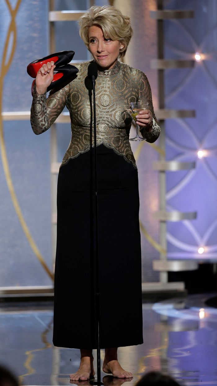 Emma Thompson Style: presenting at the Golden Globes in 2014