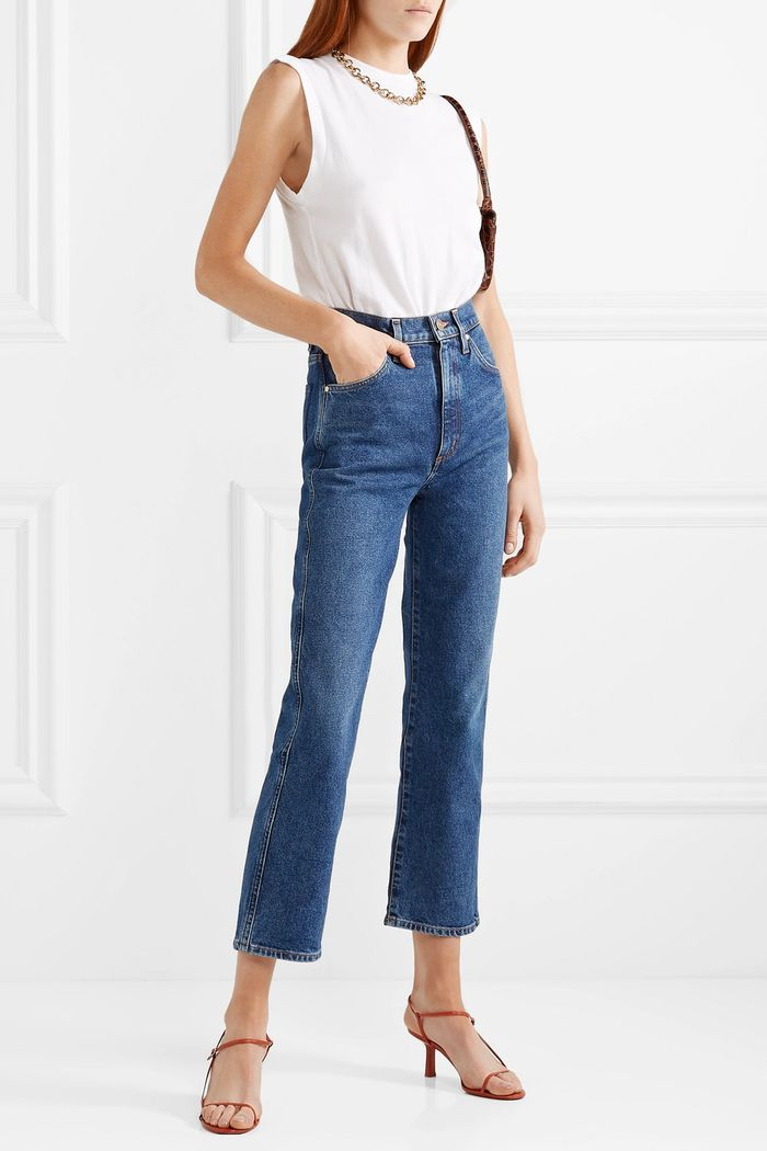 Goldsign The Cropped A High-Rise Straight Leg Jeans