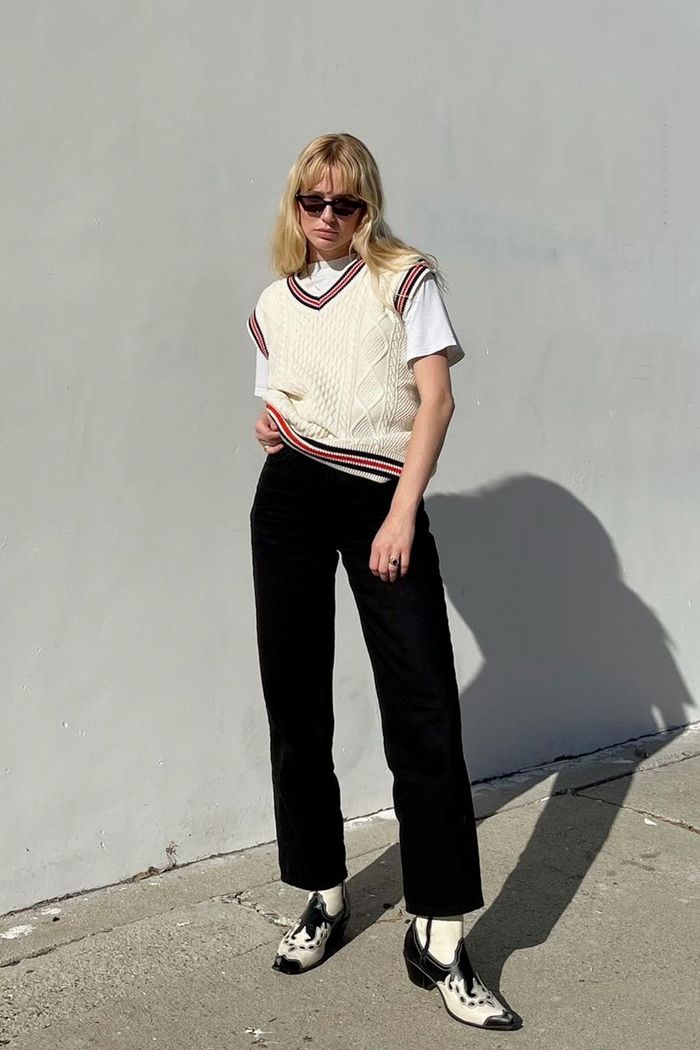 Sweater vest outfits: Megan Adelaide