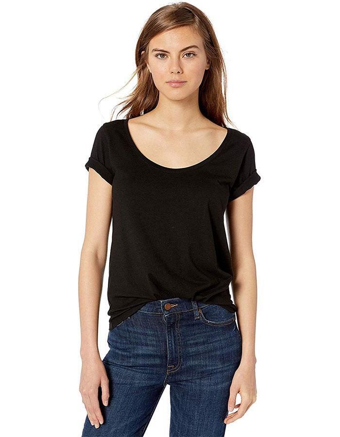 The Drop Emily Short-Sleeve Scoop Neck Drapey T-Shirt