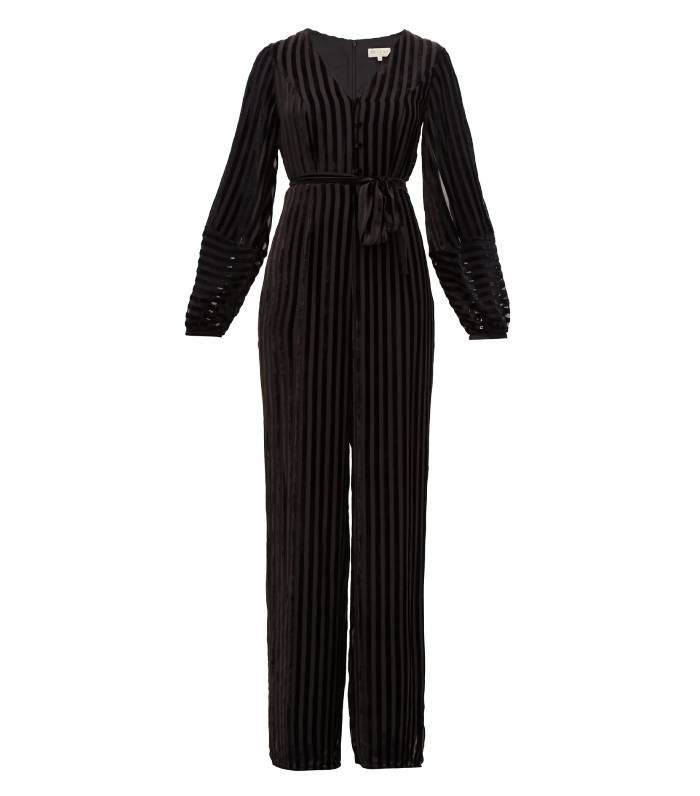 Beulah Aaloka Striped Devoré-Velvet Jumpsuit