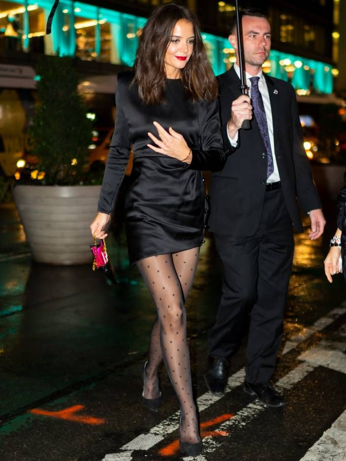 best printed tights: katie holmes