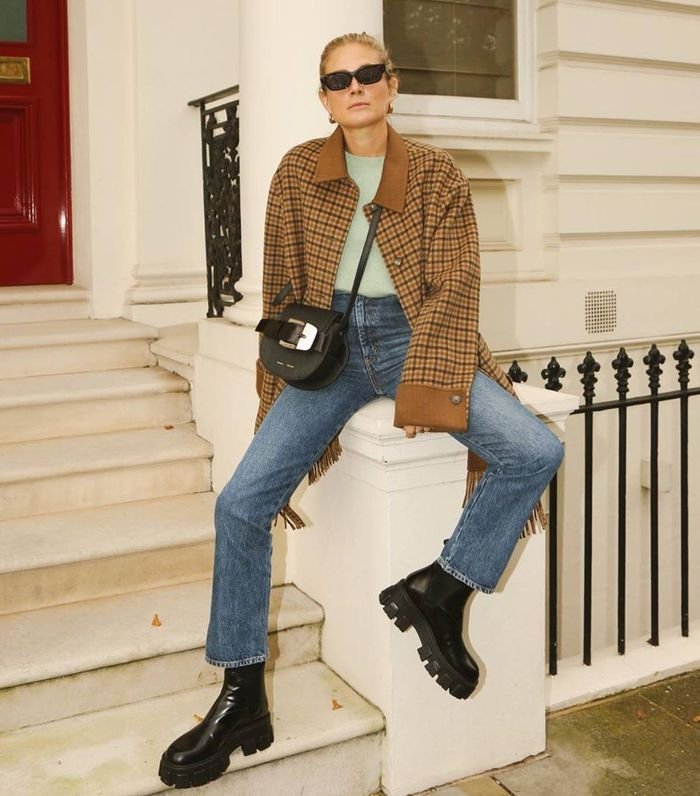 Jeans and boots: Lucy Williams wearing Prada boots