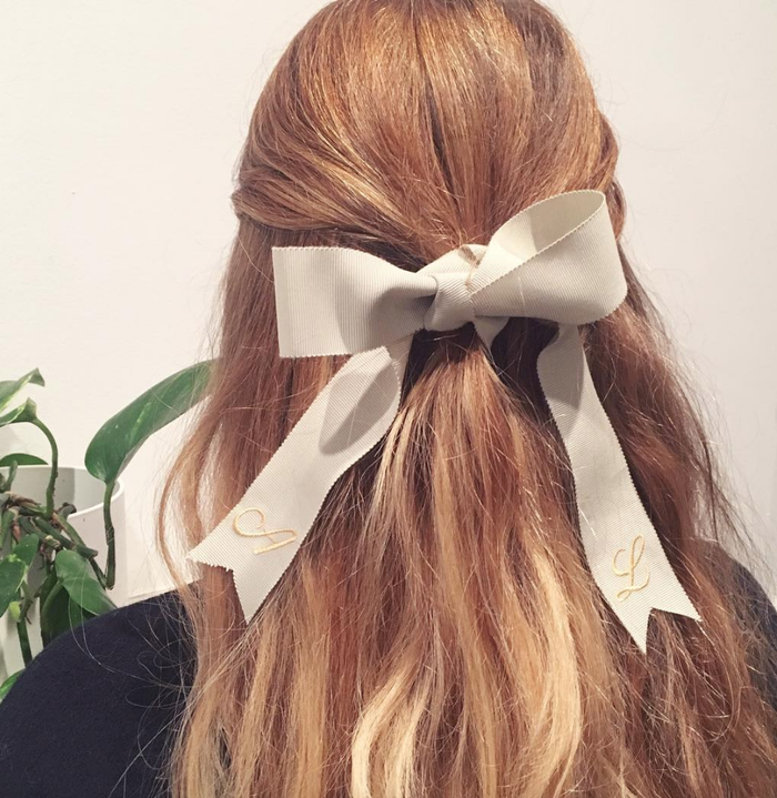 New Year's Eve hairstyle with ribbon