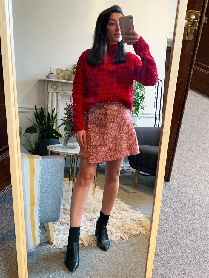 tonal outfits for winter: red roll neck with a tweed mini skirt