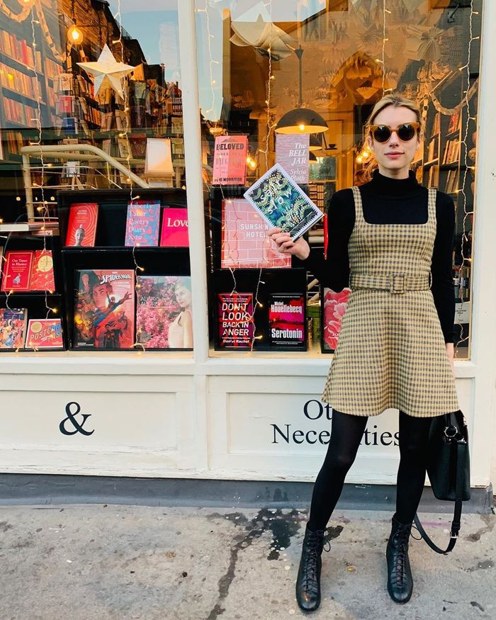 Emma Roberts Wore the Best Topshop Dress With Tights and Boots