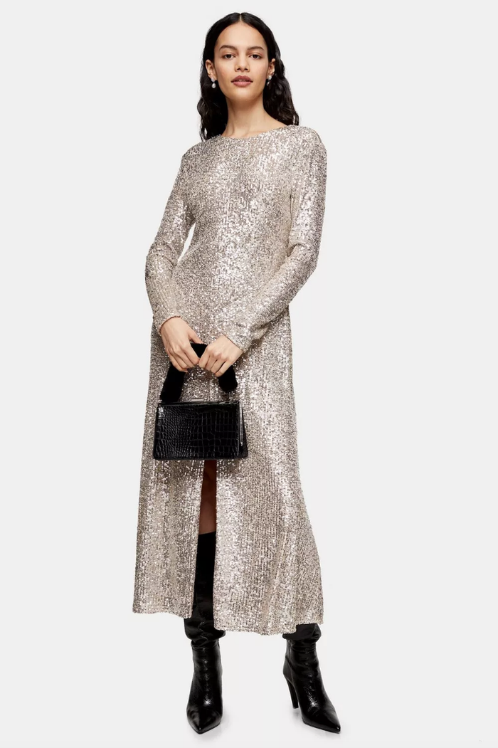Topshop Idol Sequin Midi Dress With Gold Sequins