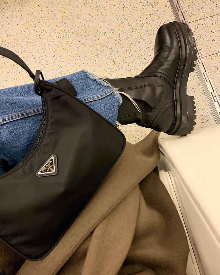 Best Prada Bags: Monikh Dale carries a black nylon Prada bag