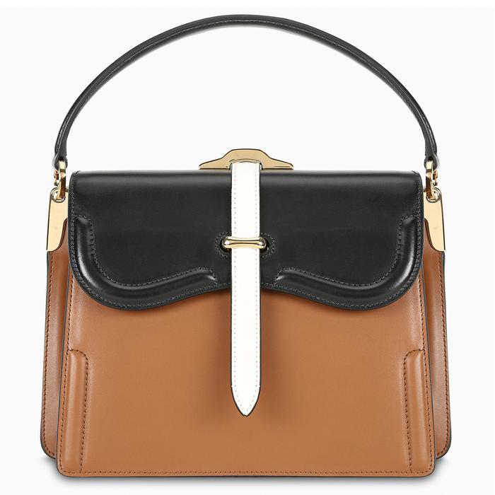 Prada Belle Small Leather Shoulder Bag in Tan