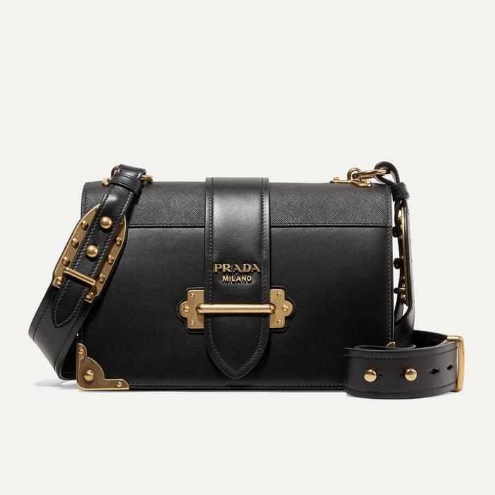 Prada Cahier Large Leather Bag in Black