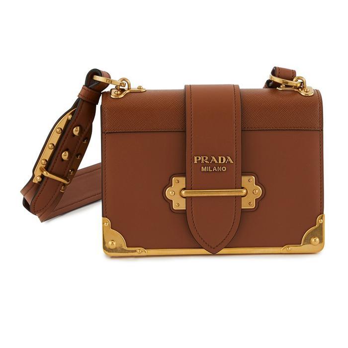 Prada Cahier Medium Leather Bag in Tan