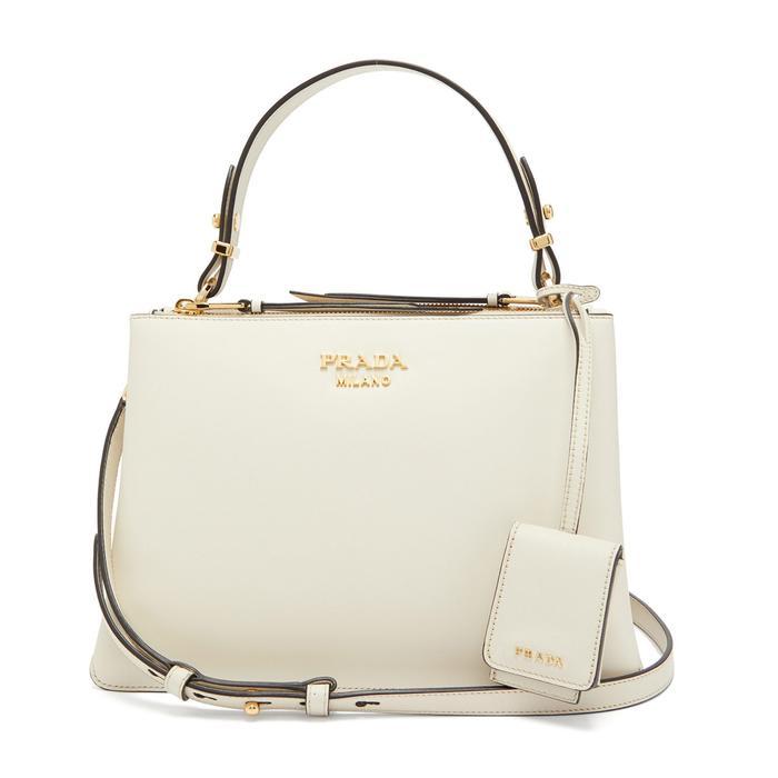 Prada Deux Leather Bag in White