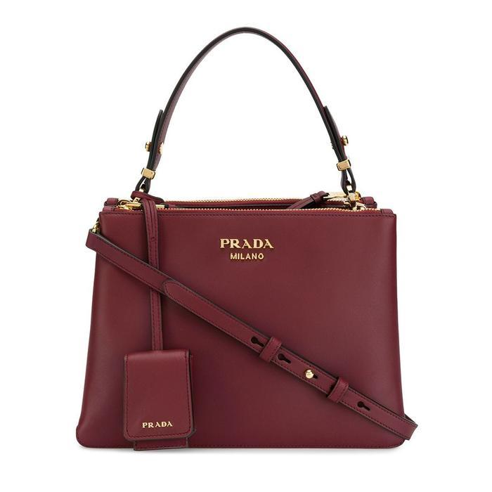 Prada Deux Small Leather Bag in Burgundy