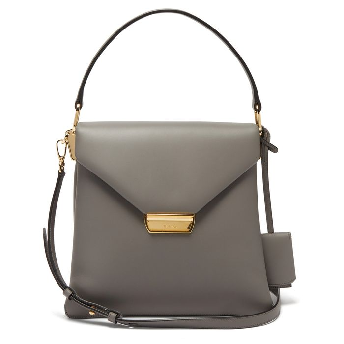 Prada Ingrid Medium Leather Bag in Grey