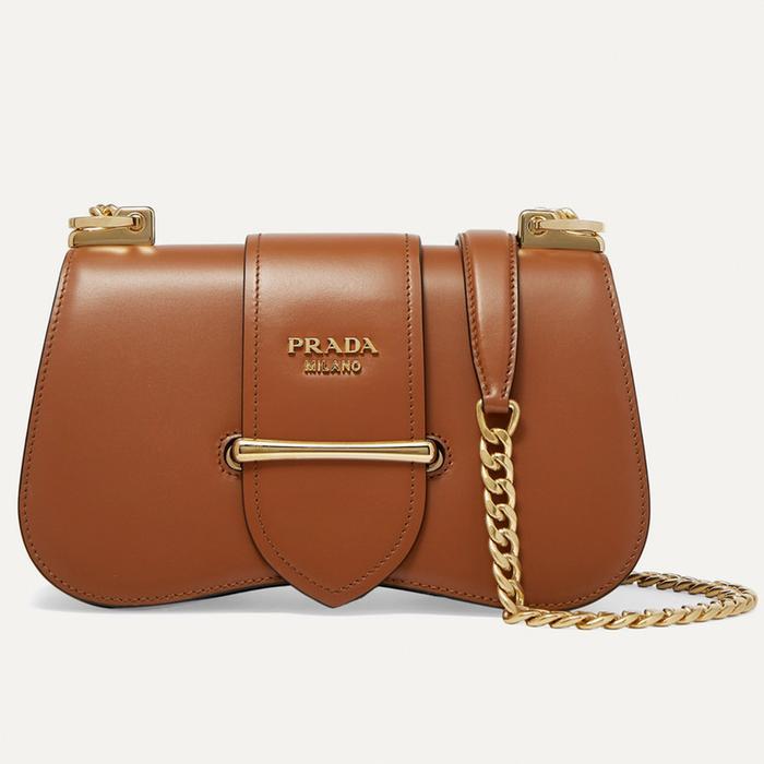 Prada Sidonie Medium Leather Bag in Tan
