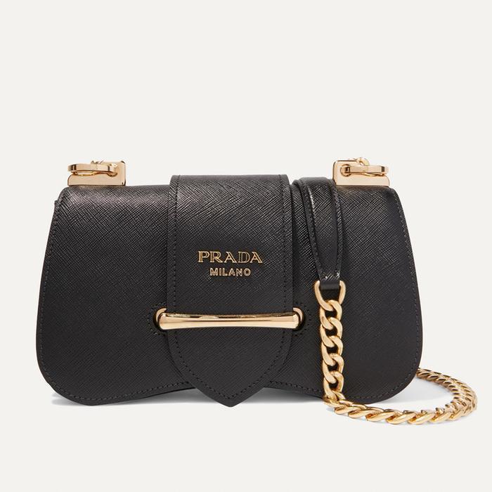 Prada Sidonie Textured-Leather Bag in Black