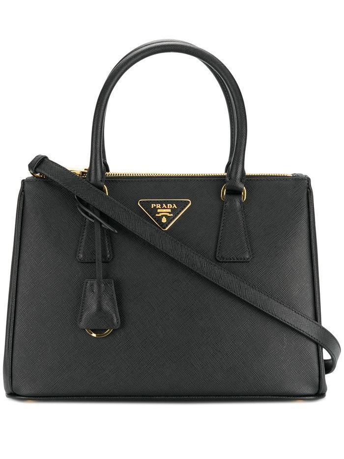 Prada Leather Galleria Bag in Black