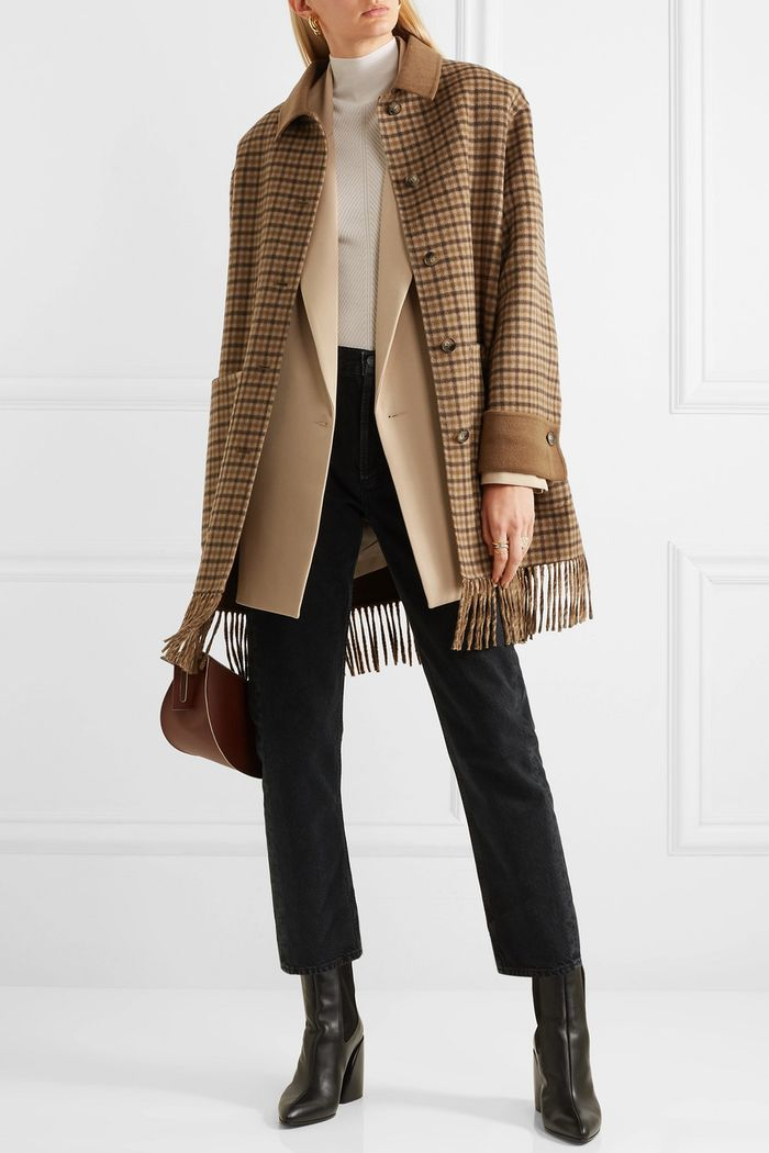 Nanushka Marzy Fringed Checked Wool and Silk-Blend Coat