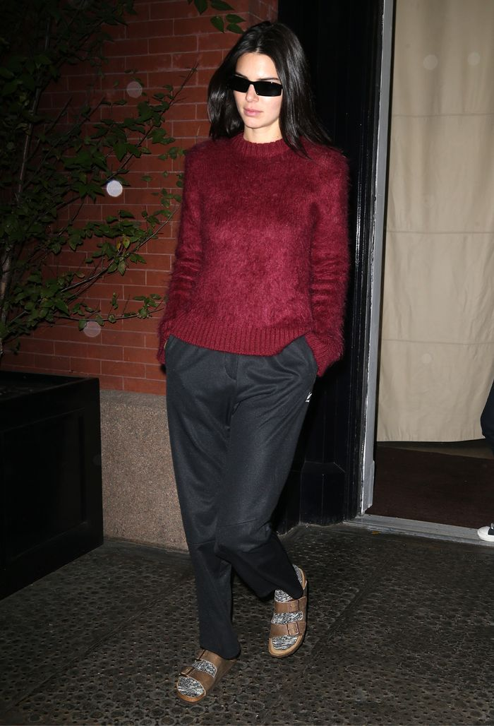 Kendall Jenner socks and sandals trend